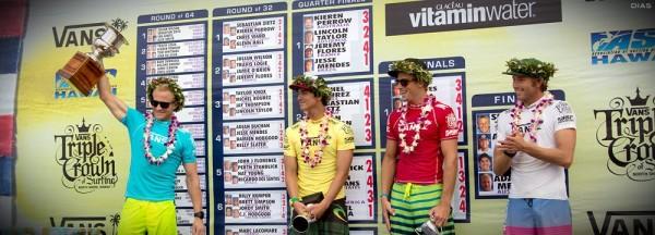 Adam Melling sagrou-se campeão da segunda etapa da Tríplice Coroa Havaiana. Medina é vice, e Alejo e Jessé pararam nas semis