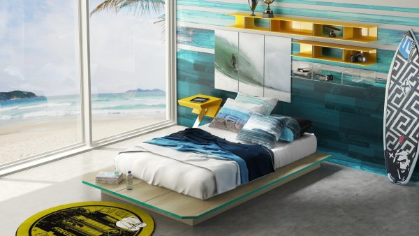 Quarto é desenvolvido para o amante do lifestyle surf