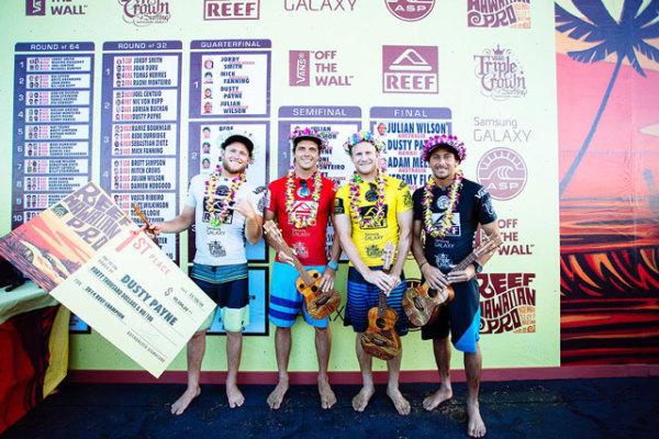 O havaiano Dusty Payne que venceu o primeiro desafio da Tríplice Coroa Havaiana e o vice-campeão Julian Wilson tiraram o carioca da decisão do título do ASP Prime de Haleiwa Beach