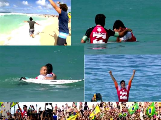 Festa de Gabriel Medina ao ser campeão mundial de surfe
