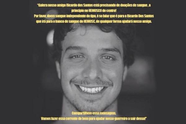 Surfistas se mobilizam em redes sociais para ajudar Ricardo do Santos, que foi baleado e precisa urgentemente de doações de sangue.