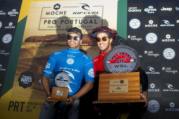 Italo Ferreira and Filipe Toledo of Brasil second and first respectively.