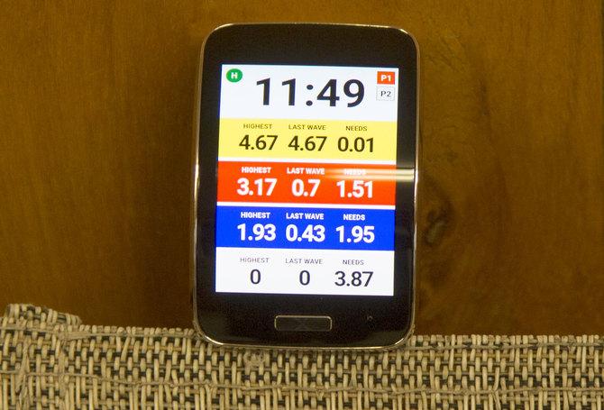 Relógio desenvolvido pelo brasileiro Mano Ziul passa informações aos surfistas durante as competições