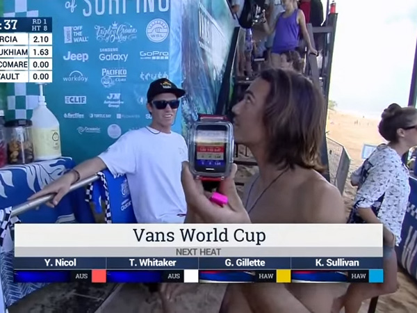 Utilização do Samsung Gear durante a Vans World Cup no Havaí